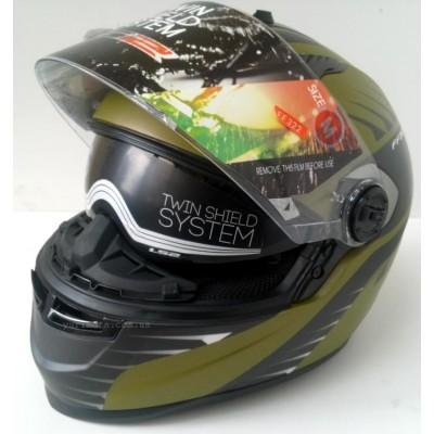 Шлем LS2 FF322 AIR FIGHTER, MATT MILITARY GREEN-BLACK