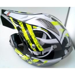 Шлем кроссовый LS2 MX433 STRIPE, BLACK HI-VIS YELLOW